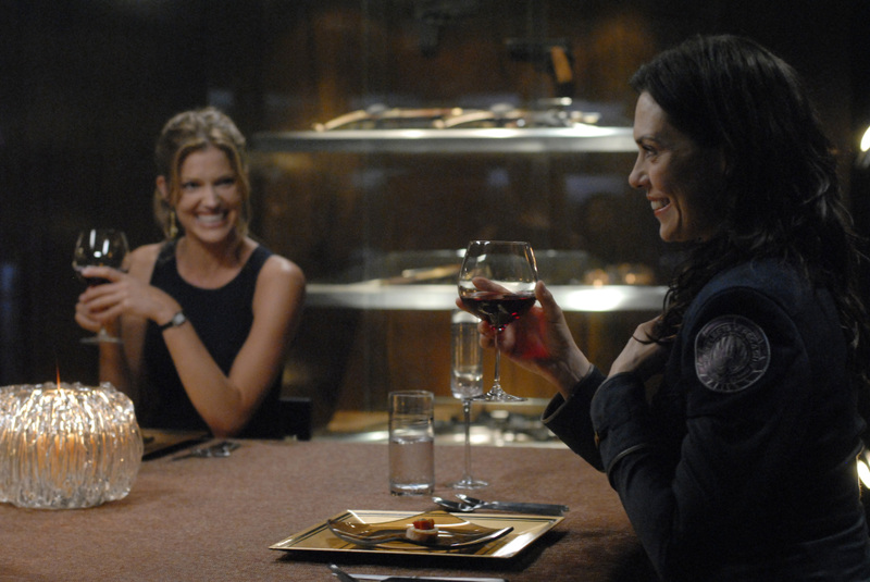 "BATTLESTAR GALACTICA -- ""Razor"" Episode 401/402 -- Pictured: (l-r) Tricia Helfer as Gina, Michelle Forbes as Admiral Cain -- SCI FI Channel Photo: Carole Segal"